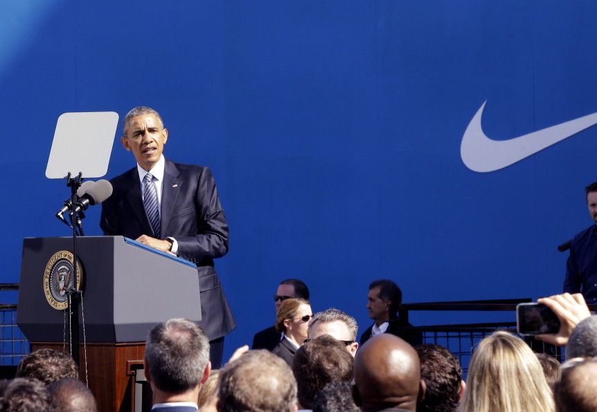 President Obama speaks at Nike headquarters in Beaverton, Ore., Friday, to make his trade policy pitch as he struggles to win over Democrats. The Associated Press