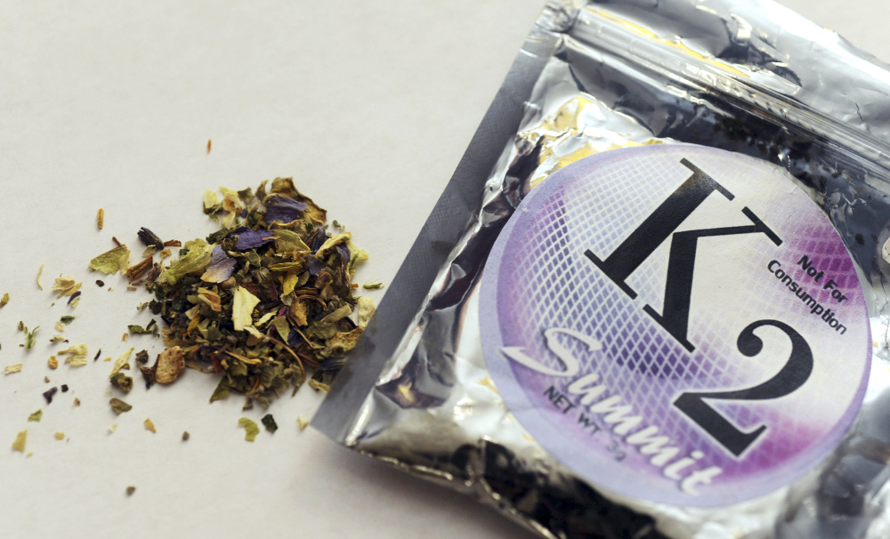 This 2010 file photo shows a package of K2, which contains herbs and spices sprayed with a synthetic compound chemically similar to THC, the psychoactive ingredient in marijuana. According to the American Association of Poison Control Centers, more than 1,500 people in several states became ill in April from smoking synthetic marijuana sold under several brand names, including K2, Spice, Crazy Clown and Scooby Snax. The Associated Press