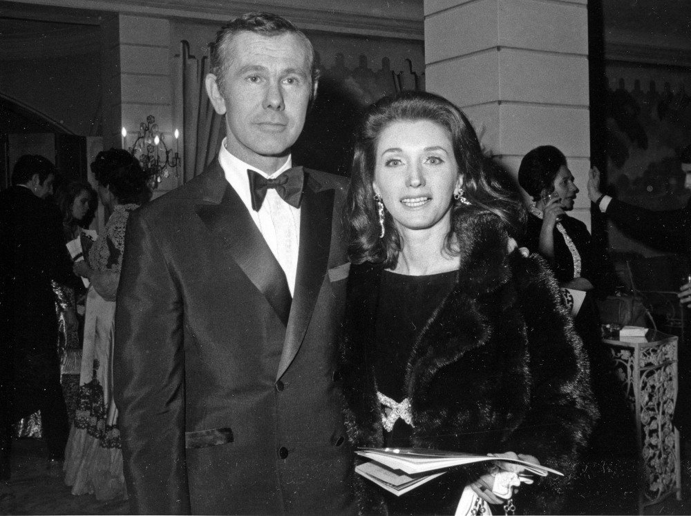 "In this Dec. 16, 1969 file photo, comedian Johnny Carson and his wife Joanne Carson attend a party in the Grand Ballroom of New York's Hotel Pierre following the opening of ""Hello Dolly."""