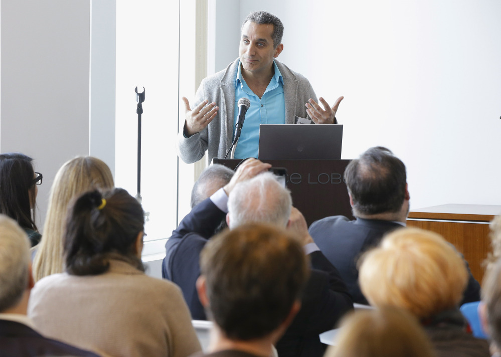 Bassem Youssef leads a discussion of satire and free speech May 1 in Boston. He has been a resident fellow for the spring semester at Harvard University's Institute of Politics at the John F. Kennedy School of Government.