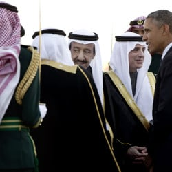 President Obama won't be playing host to Saudi King Salman bin Abdul Aziz, center, at the Camp David summit of U.S. and allied Arab leaders. Most Gulf heads of state won't be there.