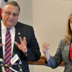 Gov. Paul LePage answers a question about his welfare reform bill, which includes more transportation assistance and financial planning help for lower-income families.