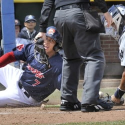 Portland's Marco Hernandez is safe at home as Trenton's catcher Gary Sanchez loses the ball as the Portland Sea Dogs host the Trenton Thunder at Hadlock Field in Portland on Wednesday.
