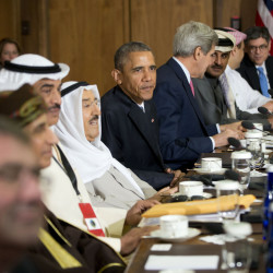 President Barack Obama, Secretary of State John Kerry, and others meet with Gulf Cooperation Council leaders and delegations at Camp David, Md., on Thursday. Obama and leaders from six Gulf nations are trying to work through tensions sparked by the U.S. bid for a nuclear deal with Iran. The U.S. House passed a measure Thursday to give Congress a say in any Iran nuclear dea.