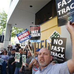 President Obama's 'fast track' legislation draws protest. A Senate vote Thursday allowing for debate of Obama's controversial trade agenda reverses an embarrassing defeat for the president. Some lawmakers are very concerned about preventing currency manipulation.