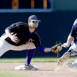 Marshwood's Noah McDaniel tags out Portland's Jack Nichols in a play at second Thursday.  Shawn Patrick Ouellette/Staff Photographer