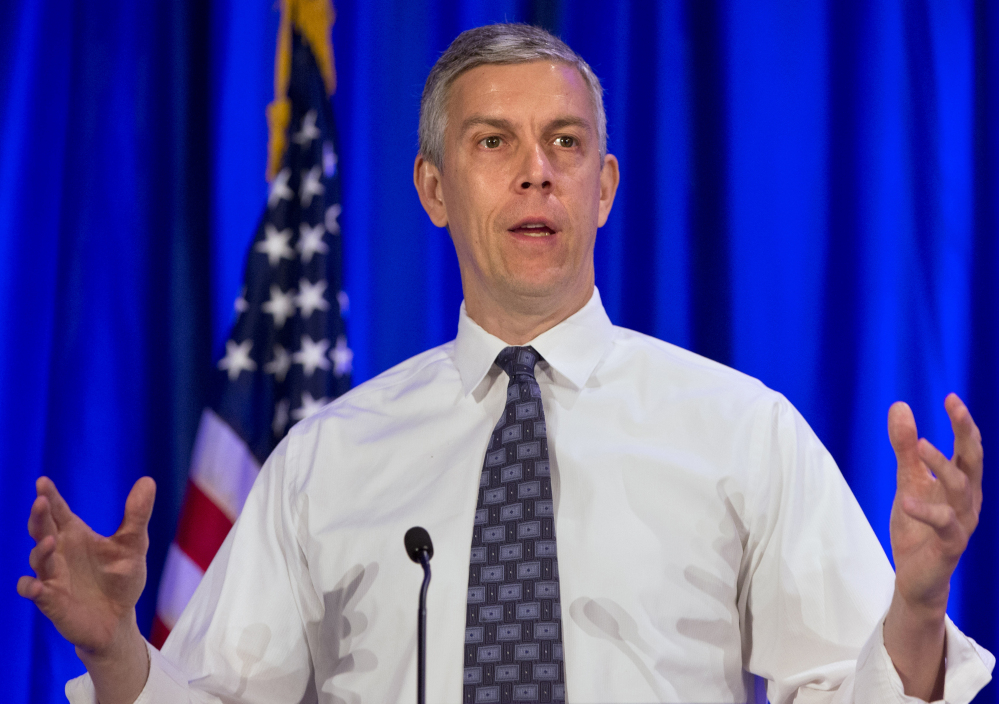 Education Secretary Arne Duncan speaks in Arlington, Va., on Tuesday.