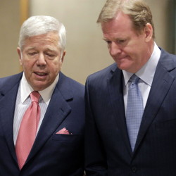 """In happier times, Pats owner Robert Kraft, left, talks with NFL Commissioner Roger Goodell while arriving at the owners meetings four years ago. When asked during the weekend about his current relationship with Goodell, Kraft said: """"You'll have to ask him."""""""