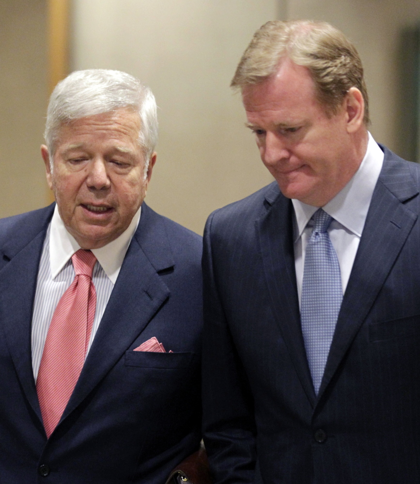 "In happier times, Pats owner Robert Kraft, left, talks with NFL Commissioner Roger Goodell while arriving at the owners meetings four years ago. When asked during the weekend about his current relationship with Goodell, Kraft said: ""You'll have to ask him."""