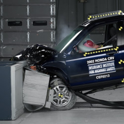 A 2002 Honda CR-V, one of the models subject to a recall to repair faulty air bags, undergoes a crash test.