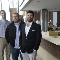 Chef de cuisine Matt Ginn, executive chef Brandon Hicks and owner Casey Prentice at Evo, the restaurant coming to the Hyatt Place hotel in the Old Port.
