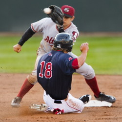 Blake Tekotte of the Portland Sea Dogs is gunned down while trying to steal second base Wednesday night as Max Moroft of Altoona takes the throw at Hadlock Field. Altoona won, 2-1.