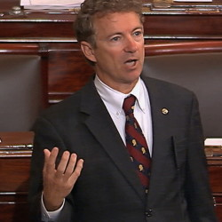 Sen. Rand Paul, R-Ky., a presidential contender, speaks against renewal of the Patriot Act.
