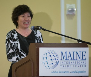 Zhang Qiyue, the Chinese consul general in New York, speaks Thursday during Maine International Trade Day at the Somerset Resort in Rockport. She said China's middle class continues to expand and offer new markets for Maine products. Claudia Dricot photo