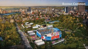 A rendering from the Boston 2024 bid documents shows a proposed Olympics volleyball venue located on the Boston Common.