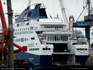 The Nova Star ferry was scheduled to arrive in Portland Harbor on Saturday, ready to be fitted for its second season. Officials from the Nova Scotian government, which subsidizes the service, are expected to arrive in Maine in early June to look for additional funding for the service, which runs between Portland and Yarmouth, Nova Scotia.  Press Herald file photo