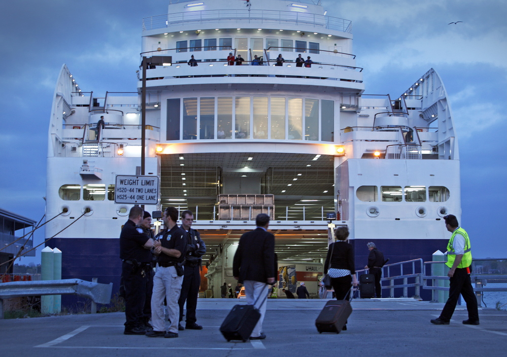 Passengers board the Nova Star ferry for its maiden voyage from Portland to Yarmouth, Nova Scotia, last May. Ferry officials expect 80,000 riders this summer on the service that begins June 1, up from last year's 59,000. A Nova Scotia official hopes to meet with Gov. LePage soon about Maine funding for the ferry.