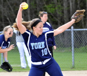 York pitcher Stephanie Rundlett allowed three hits and struck out 15 as the Wildcats beat Yarmouth 6-1 to improve to 13-0. York won just two games last season.