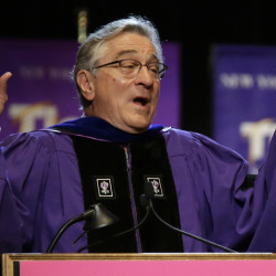 Actor Robert De Niro addresses New York University's Tisch School of the Arts graduation ceremony Friday in New York.
