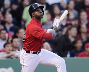 Boston's Rusney Castillo, in his first game of the season, watches the flight of his second-inning fly out against the Los Angeles Angels at Fenway Park on Friday.