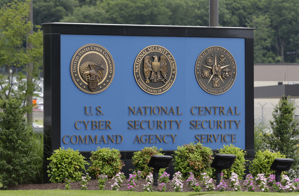 A sign stands outside the National Security Agency campus in Fort Meade, Md.