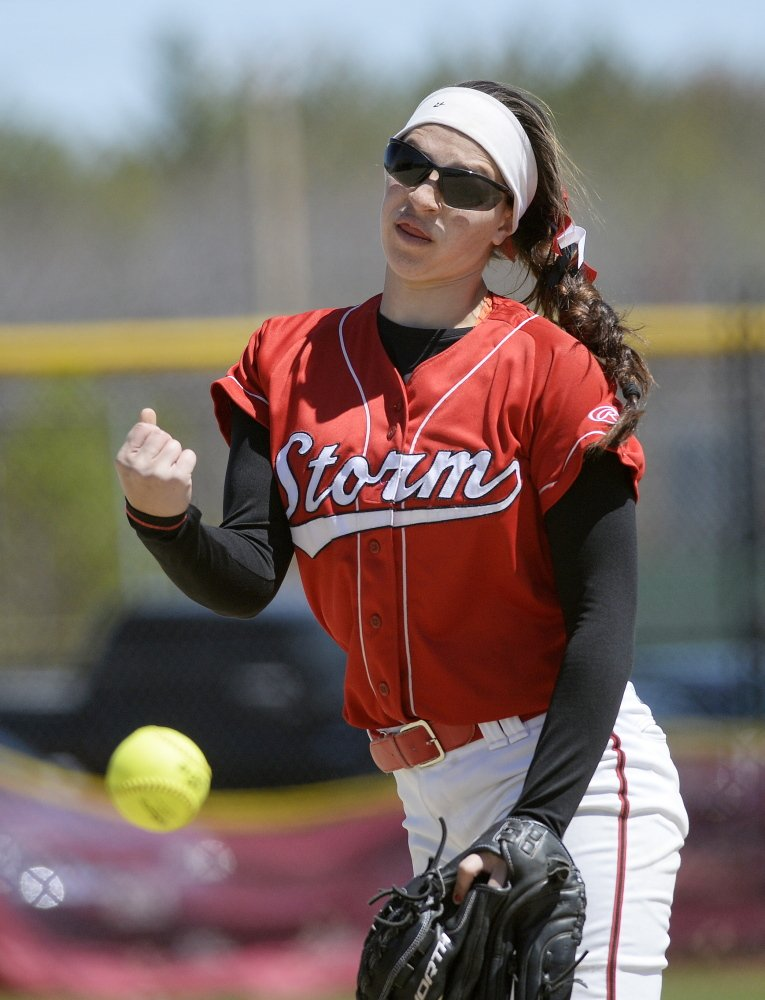 Scarborough pitcher Lilly Volk was tested in the last two innings but held on to keep her team undefeated.