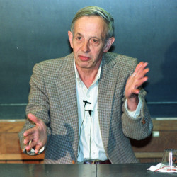 Princeton University professor John Nash speaks during a news conference in 1994 at the school in Princeton, N.J., after being named the winner of the Nobel Prize for economics.