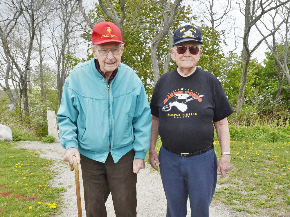 World War II veterans Fred Jeffery of Portland, left, and Roy Earle of Norway both served in the Pacific during World War II. Jeffery saw action on Okinawa and Earle was at Iwo Jima. Shawn Patrick Ouellette / Staff Photographer