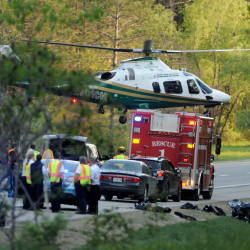 State police along with Waterville and Sidney fire departments responded to a motorcycle accident at mile 120 southbound on Interstate 95 on Sunday. Michael Tracy, 59, of Waldoboro, suffered life-threatening injuries and was transported to Eastern Maine Medical Center in Bangor by LifeFlight helicopter.
