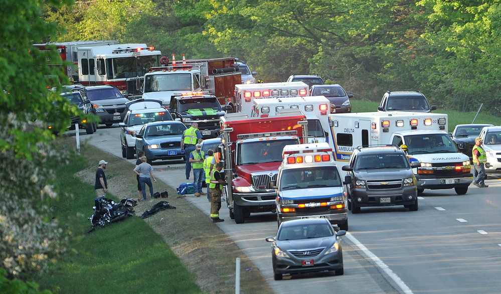 State police along with Waterville and Sidney fire departments respond to a motorcycle accident at mile 120 southbound on Interstate 95 in May.
