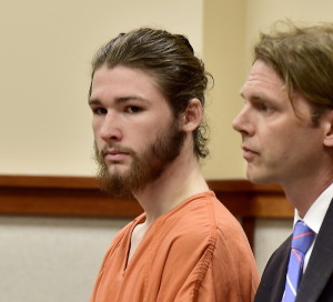 Logan Taylor, 21, of Brunswick, appears  in courtroom 1 at the Cumberland County Courthouse with the Attorney of the Day, Merritt Heminway, for his arraignment on the charge of rape. Gordon Chibroski/Staff Photographer