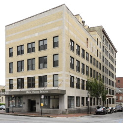 The former Portland Press Herald building at 390 Congress St., now the Press Hotel.