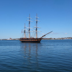 Two tall ships – the Oliver Hazard Perry, top, and the Picton Castle – will be home to four Portland students this summer.