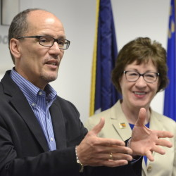 Secretary of Labor Thomas Perez and Sen. Susan Collins hold a press conference in Portland before their tour.