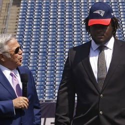 "Defensive lineman Malcom Brown, right, said Wednesday that he plans to work hard for his new team, the New England Patriots, and their owner, Robert Kraft, left. About the deflated football scandal? ""I'm just here to work."""