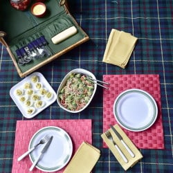 Items prepared for a picnic consist of deviled eggs, spicy broccoli peanut noodles, and pot de creme and strawberries, all made with a pot of water that was used several times.