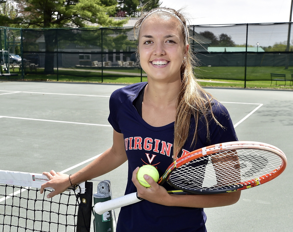 Meghan Kelley of Falmouth, who will play for Virginia in 2016, is enrolled in the state's first virtual charter school while competing in tournaments in North and South America. She hopes to be in the Wimbledon junior tourney and is currently an alternate for its qualifying competition.