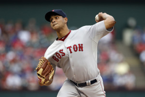 Red Sox starting pitcher Eduardo Rodriguez, making his major league debut, works against the Texas Rangers in the first inning Thursday night in Arlington, Texas. Rodriguez shut out the Rangers on just three hits before leaving in the eighth inning.
