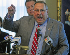 Gov. Paul LePage speaks during a news conference Friday.