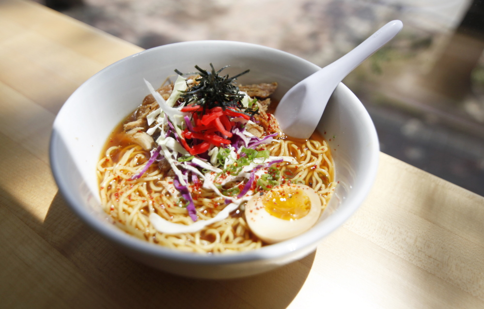 Shoyu Ramen at ANJU Noodle Bar in Kittery for Dine Out.  Jill Brady/Staff Photographer