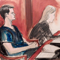 "Ross Ulbricht, left, is pictured in court Friday. U.S. District Court Judge Katherine Forrest told the 31-year-old founder of Silk Road, ""It was a carefully planned life's work. It was your opus. You are no better a person than any other drug dealer."""