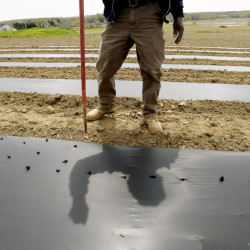 A farmer pokes holes in plastic where he will plant onions at Jordan's Farm in Cape Elizabeth. The plastic is used to hold moisture in the soil. Maine is experiencing a drier than normal spring.
