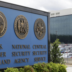 A sign identifies the National Security Agency campus in Fort Meade, Md.
