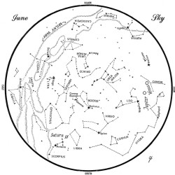 SKY GUIDE: This chart represents the sky as it appears over Maine during June. The stars are shown as they appear at 10:30 p.m. early in the month, at 9:30 p.m. at midmonth and at 8:30 p.m. at month's end. Saturn, Jupiter and Venus are shown in their midmonth positions. To use the map, hold it vertically and turn it so that the direction you are facing is at the bottom.
