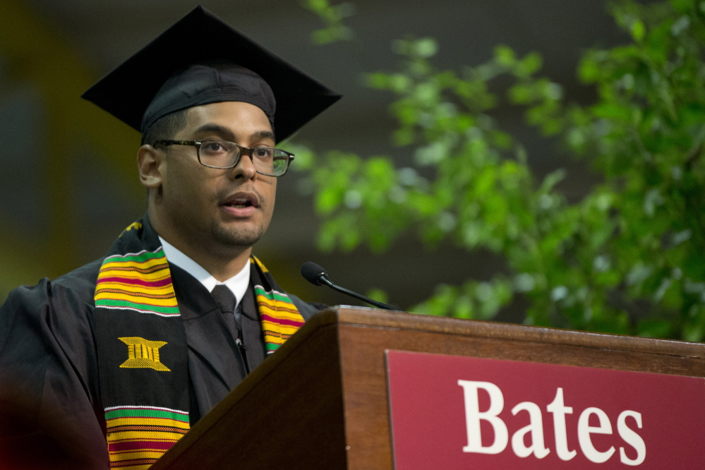 Alex Bolden, a senior from Cleveland, gives the senior address at Bates College's commencement Sunday. Photos by Phyllis Graber Jensen/Bates College