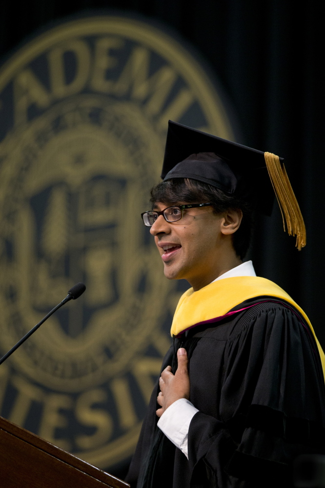 Keynote speaker Manjul Bhargava, mathematician and Princeton University professor, ties it all together for graduates.