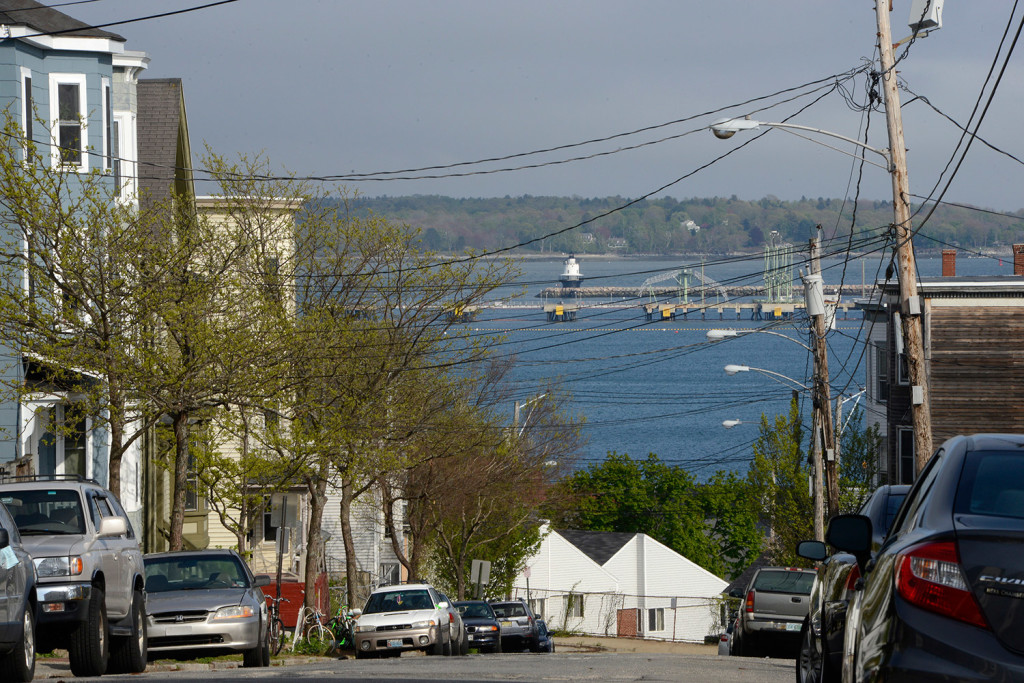 The view of Portland Harbor and Spring Point Light from Kellogg Street in Portland. A group of Portland residents is pushing for an ordinance to protect the views from upper Fore Street and establish a Scenic Viewpoint Task Force. John Patriquin/Staff Photographer