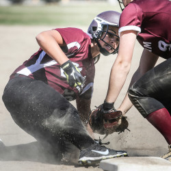 Gorham third baseman Noelle DiBiase tags Noble player Tyler Chastney out at at the bag during softball action in Gorham.
