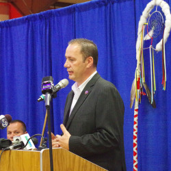 "Penobscot Chief Kirk Francis speaks at Wednesday's press conference on the Penobscot reservation at Indian Island. He said, ""The Maine Indian Land Claims Settlement Act has failed and we cannot allow ourselves to continue down the path."" Colin Woodard/Staff Writer"
