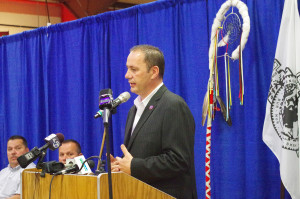 """Penobscot Chief Kirk Francis speaks at Wednesday's press conference on the Penobscot reservation at Indian Island. He said, """"The Maine Indian Land Claims Settlement Act has failed and we cannot allow ourselves to continue down the path."""" Colin Woodard/Staff Writer"""